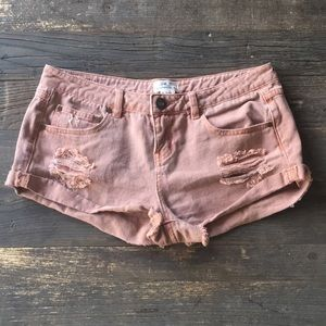 O'Neill distressed denim shorts